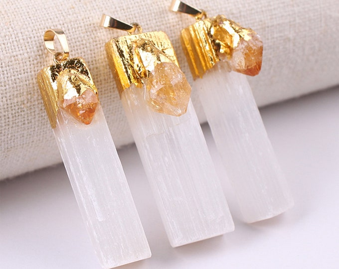 White Gypsum Pendant with Raw Citrine | Gold Edged | Natural Gemstone Loose Pendant Bead | Sold by Piece | Size 45-60mm
