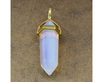 Sea Opal Double Terminated Gold Plated Bail Pencil Point Chakra Pendant Bead