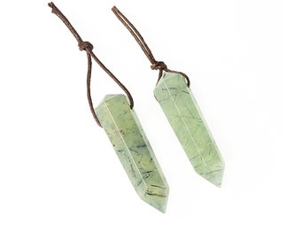 Prehnite Hexagonal Prism Pendant | Natural Gemstone Loose Pendant Focal Bead | Sold Individually | Size 12x48mm | Hole 2mm