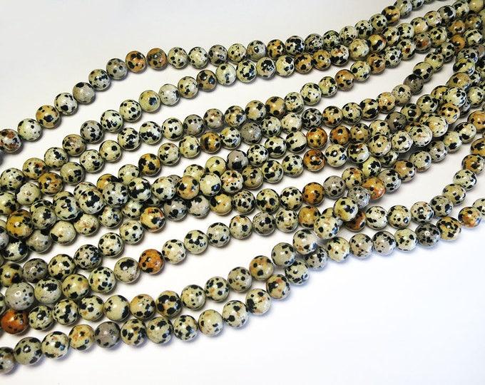 "Dalmatian Jasper Beads 6mm 8mm Round Polished Natural Gemstone Loose 15.5"" Full Strand Wholesale"