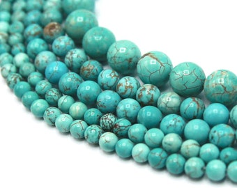 Blue Turquoise Beads 6mm 8mm 10mm 12mm Round Natural Gemstone Loose 15.5 inch Full Strand Wholesale