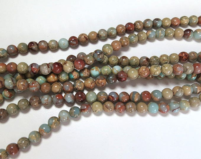 "Aqua Terra Jasper Beads 6mm 8mm 10mm Round Polished Natural Mala Gemstone Loose 15.5"" Full Strand Wholesale"
