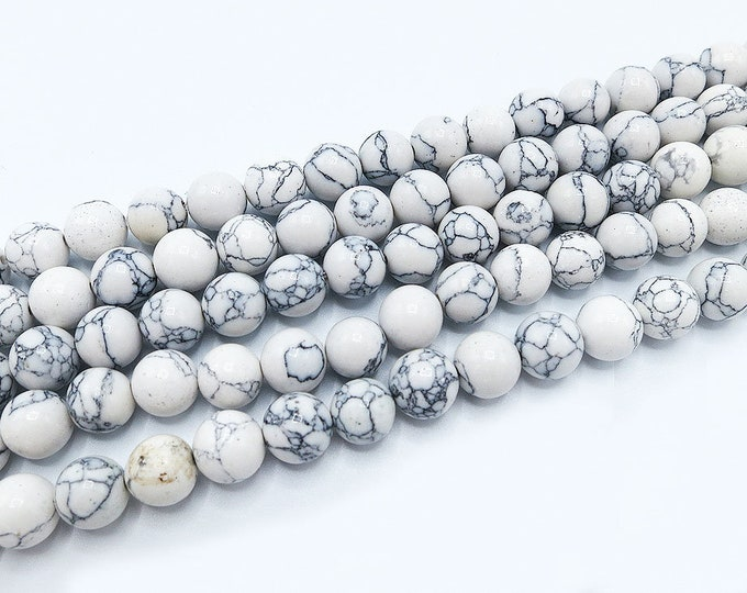 "White Turquoise Beads 4mm 6mm 8mm 10mm Round Polished Howlite Synthetic Gemstone Loose 15.5"" Full Strand Wholesale"