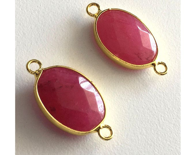 2 Pieces Gold Plated Natural Red Druzy Quartz Crystal Faceted Agate Bezel Connector 27x15mm
