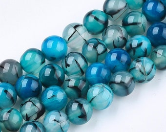 15 inch strand 8mm Blue Lace Terra Agate Round Beads