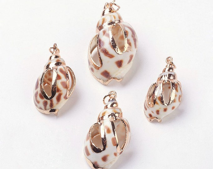 Natural Sea Shell Pendant | 18K Gold Plated Conch Shell | Sold Individually | Size 29~38x15~23x12~19mm