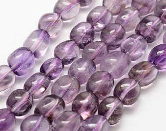 Amethyst Nuggets Beads | Grade A | Natural Gemstone Beads | Sold by 7 Inch Strand | Size 10~15x7~10mm | Hole 1mm