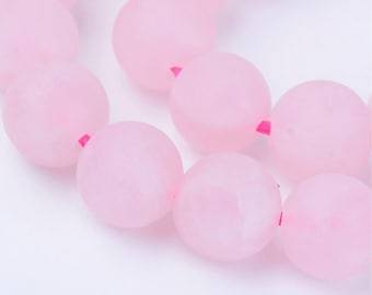 Rose Quartz Beads | Matte Round Natural Gemstone Loose Beads | Sold by 15 Inch Strand | Size 4mm 6mm 8mm 10mm