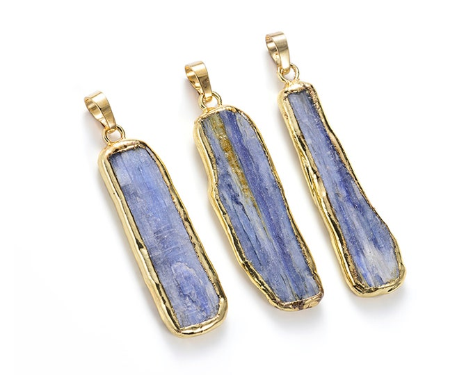 Kyanite Bar Pendant | Gold Edged | Natural Gemstone Loose Pendant Focal Bead | Sold Individually | Size 12x40-15x45mm | Hole 5-6mm
