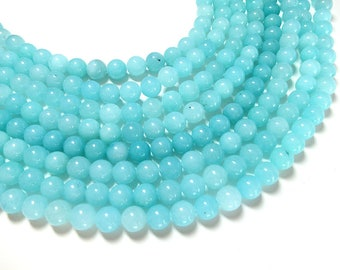 "Light Blue Jade Beads 4mm 6mm 8mm 10mm Natural Beads Dyed Gemstone Beads  Full Strand 15.5"" Wholesale"