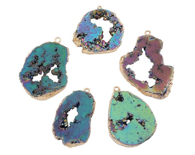 Druzy Quartz Pendant | Electroplated Natural Gemstone Pendant Focal Bead | Size 28~41x47~56x6~8mm | Hole 3mm