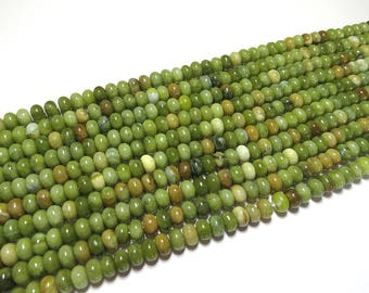 5x8mm Green Taiwan Jade Polished Rondelle Beads Gemstone Loose 15'' Full Strand