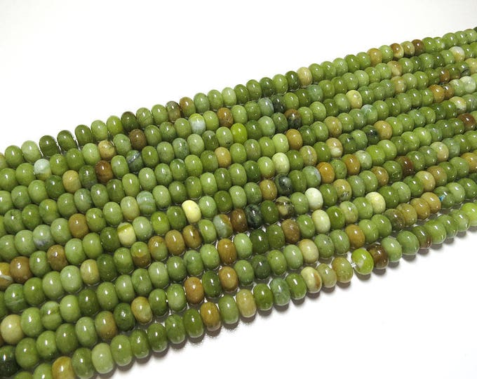 Taiwan Jade Beads | Green Brown | Polished Rondelle Natural Gemstone Loose Beads | Sold by 15 inch Strand | Size 4x6mm