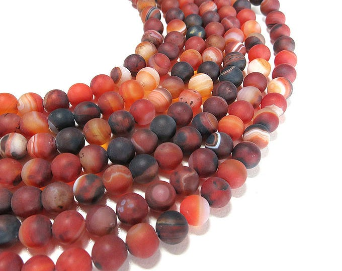 Matte Brown Stripe Agate Beads | Round Natural Gemstone Loose Beads | Sold by Strand | 8mm