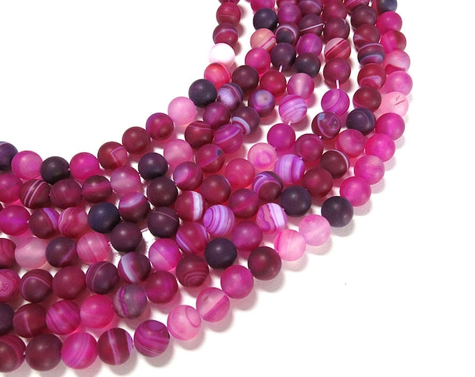 Matte Pink Fuchsia Stripe Agate Beads | Round Natural Gemstone Loose Beads | Sold by Strand | 6mm 8mm