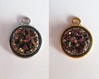 2 Pieces Antique Silver or Gold Plated Metallic Purple Faux Druzy Agate Bezel Charm Briolette Pendant