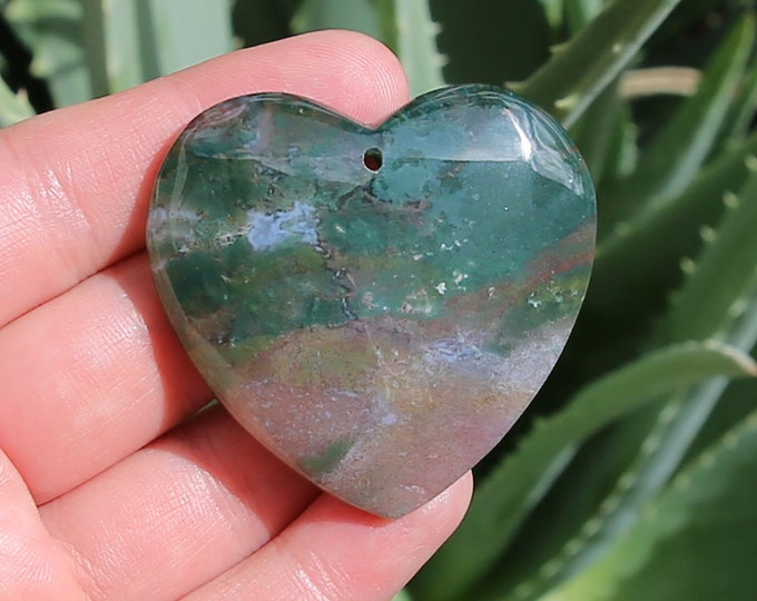Natural Moss Agate Heart Pendant Focal Bead 48x46x8mm T14853