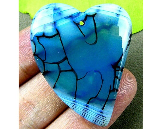 Beautiful Blue Dragon Veins Agate Heart Gemstone Pendant Focal Bead 42x34x6mm B83310