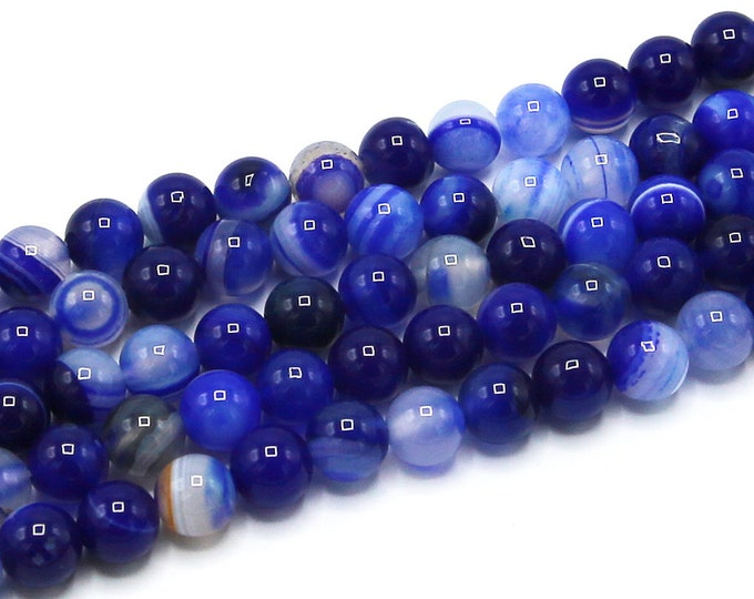 Dark Blue Stripe Agate Beads | Round Natural Gemstone Loose Beads | Sold by Strand | 8mm