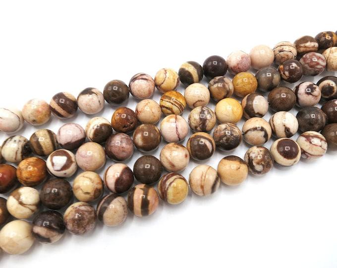 Jasper Beads   Brown Zebra   Round Natural Gemstone Loose Beads   Sold by Strand   4mm 6mm 8mm 10mm