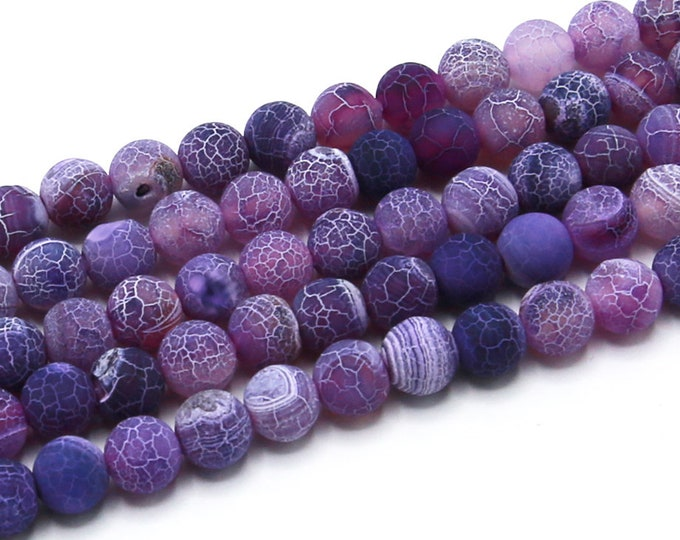 "8mm Purple Effloresce Agate Beads Round Polished Natural Gemstone Loose 15.5"" Full Strand Wholesale"