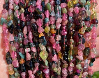 Tourmaline Nuggets Beads | Grade A | Natural Gemstone Loose Beads | Sold by 15 Inch Strand | Size 4-6mm | Hole 0.7mm
