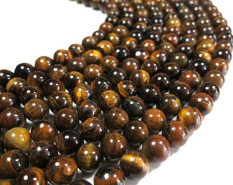 "Tiger Eye Beads 4mm 6mm 8mm 10mm 12mm Natural Beads Gemstone Beads Mala Stones Full Strand 15.5"" Wholesale"