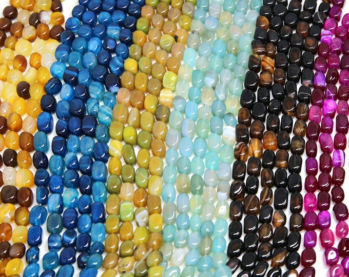 Agate Nuggets Beads | Stripe Agate | Banded Agate | Natural Gemstone Loose Beads | Sold by Strand | Pick a Color | Size 9~10x7~8mm