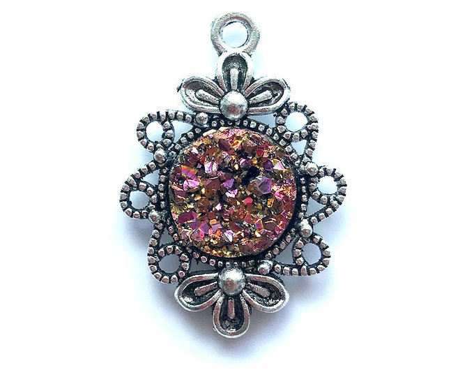 2 Pieces Antique Silver Plated Purple Metallic Faux Druzy Agate Bezel Charm Flower Pendant