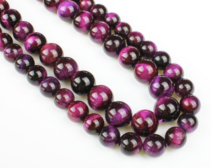 Purple Tiger Eye Beads | Grade AAA | Polished Round Natural Gemstone Loose Beads | Sold by 7 Inch Strand | Size 6mm 8mm 10mm