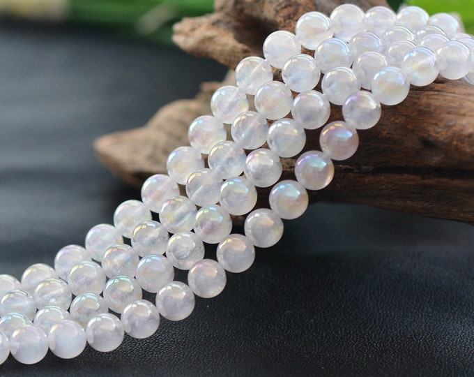 Angel Aura Quartz Beads | White Glossy | Grade A | Round Glossy Natural Gemstone Loose Beads | Sold by Strand | Size 6mm 8mm 10mm