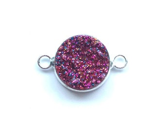 5 Pieces Silver Plated Purple Glitter Faux Resin Druzy Agate Bezel Connector 20x12mm