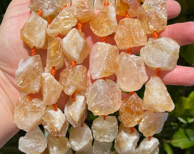 Natural Citrine Nuggets Beads   Drilled Raw Natural Gemstone Loose Beads   Sold by 7 Inch Strand   Size 16-20x23-28x8-15mm