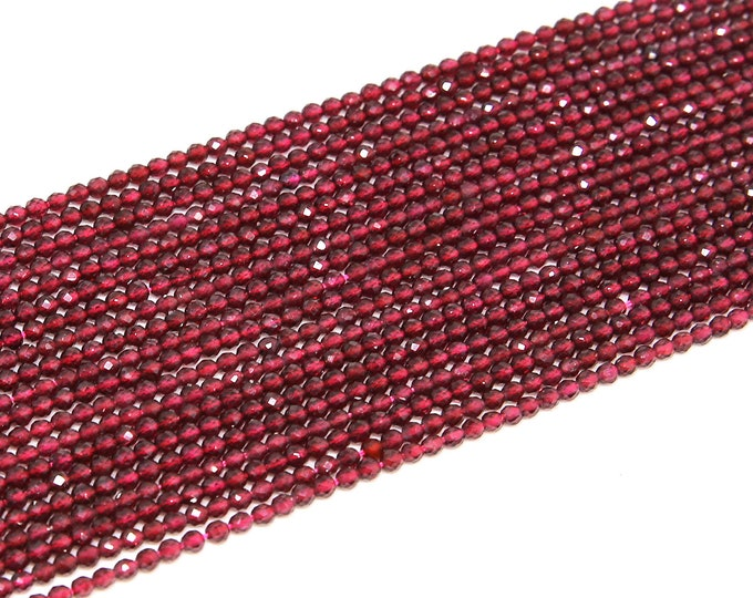 Red Garnet Beads | Faceted Round Natural Gemstone Loose Beads | Sold by Strand | 3mm