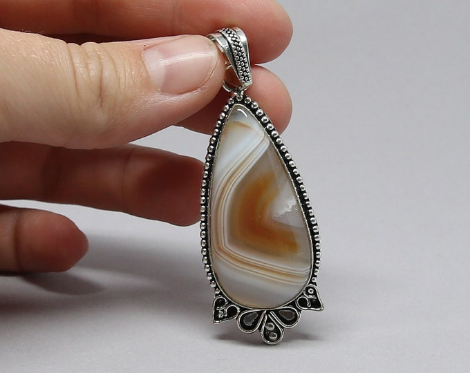 Natural Botswana Agate Gemstone .925 Sterling Silver Stamp Pendant Focal Bead Size 2 inch