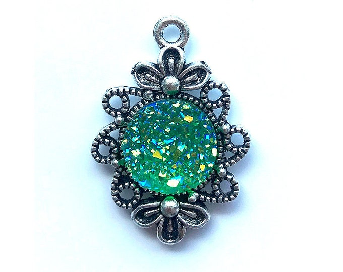 2 Pieces Antique Silver Plated Light Green AB Faux Druzy Agate Bezel Charm Flower Pendant
