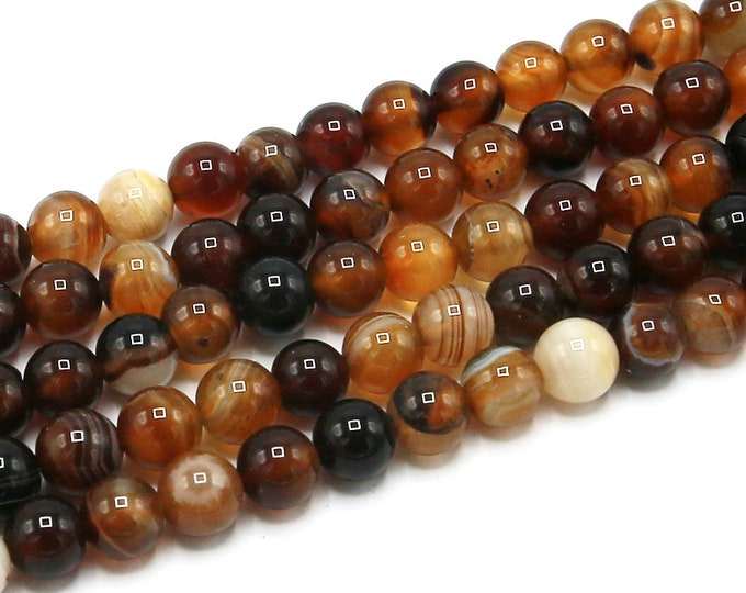Coffee Brown Stripe Agate Beads | Round Natural Gemstone Loose Beads | Sold by Strand | 8mm