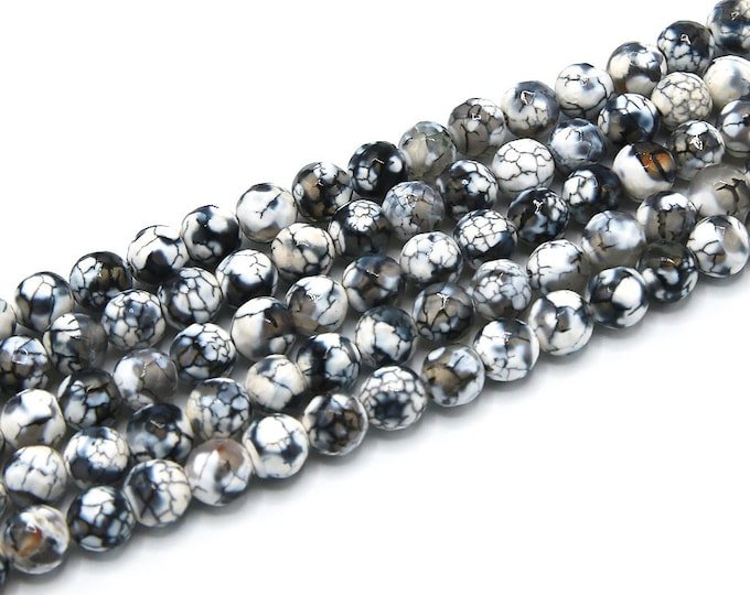 Fire Agate Beads   White Black   Faceted Round Natural Gemstone Loose Beads   Sold by Strand   8mm 10mm