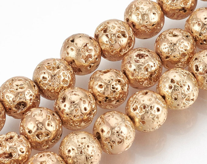 Lava Beads | Light Gold Color Plated Beads | Round Natural Gemstone Beads | Sold by 15 Inch Strand | Size 8-9mm