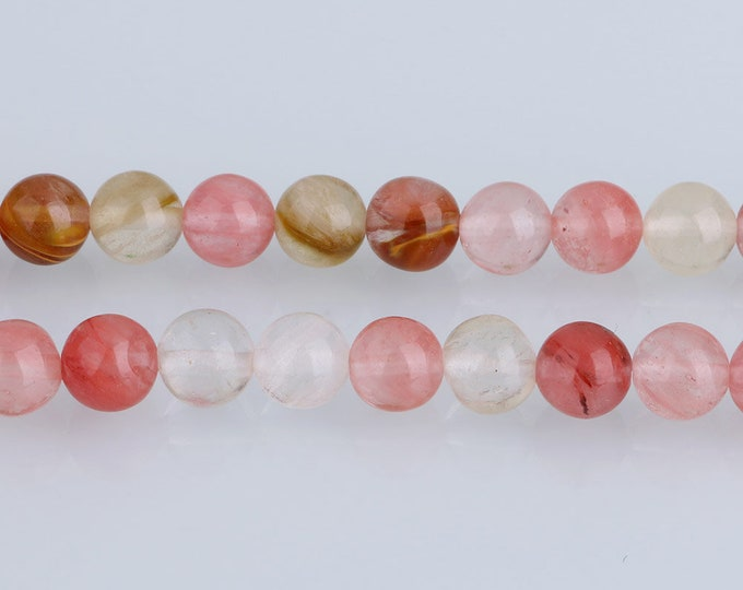 Fire Cherry Quartz Beads 4mm 6mm 8mm 10mm 12mm Round Natural Gemstone  Full Strand 15.5 inch Wholesale
