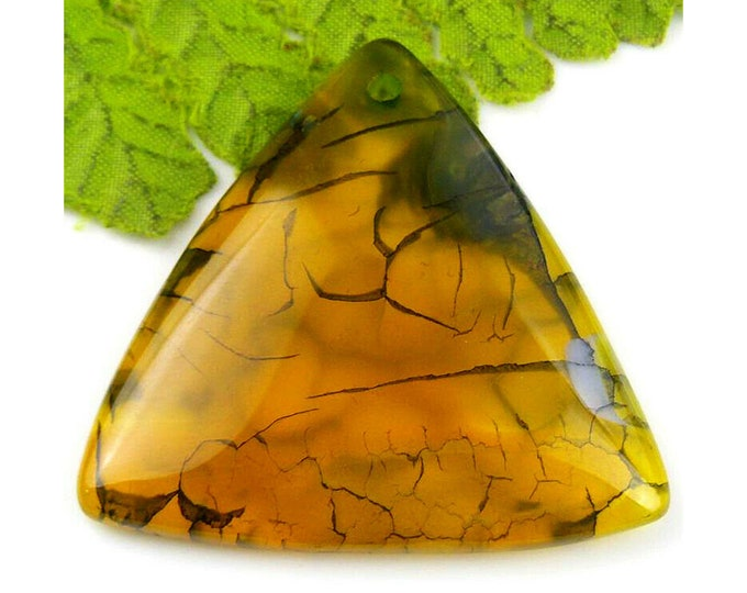 Beautiful Dark Yellow Black Dragon Veins Agate Triangle Pendant Gemstone Focal Bead 45x42x7mm Q16222