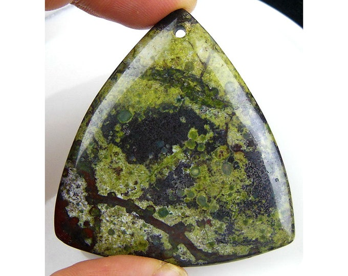 Natural Dragon Blood Triangle Gemstone Pendant Focal Bead 49x45x7mm D23201