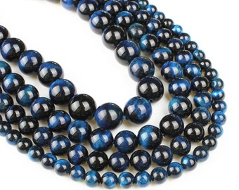 Deep Blue Tiger Eye Beads | Grade AAA | Polished Round Natural Gemstone Loose Beads | Sold by 7 Inch Strand | Size 6mm 8mm 10mm