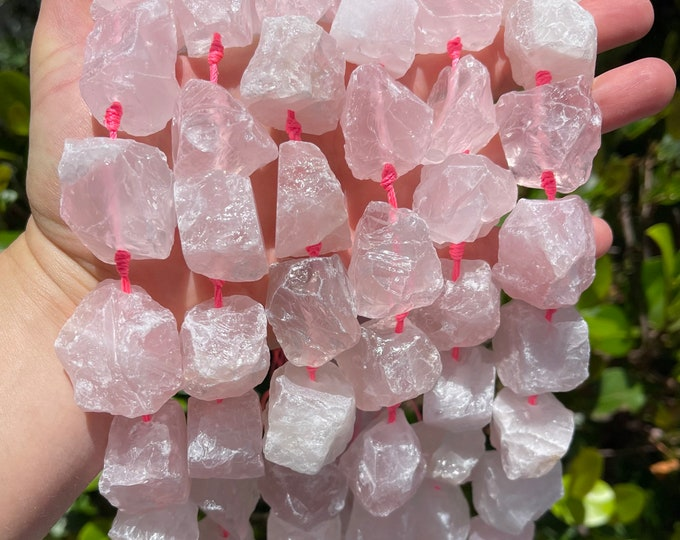 Natural Rose Quartz Nuggets Beads   Drilled Raw Natural Gemstone Loose Beads   Sold by 7 Inch Strand   Size 16-20x23-28x8-15mm