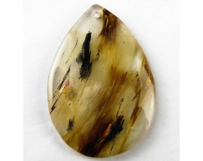Cherry Quartz Teardrop Gemstone Pendant Focal Bead 53x37x7mm V32186