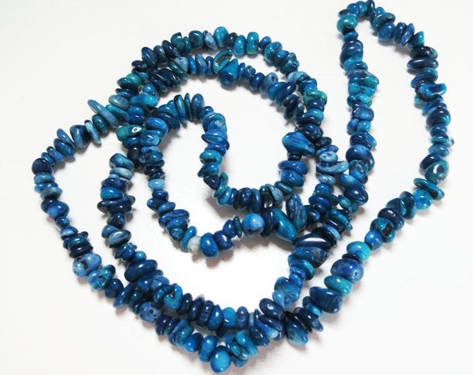 Blue Coral Chips Nuggets Natural Gemstone Jewelry Beads Full Strand 33""