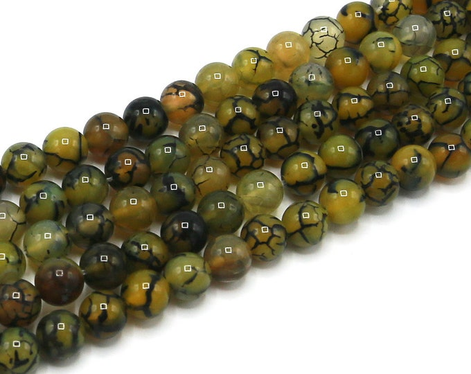 "Yellow Dragon Veins Agate Beads 6mm 8mm 10mm Round Polished Natural Gemstone Dyed Loose 15"" Full Strand Wholesale"