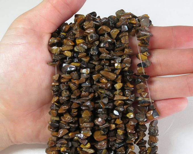 """Tiger Eye Chips Nuggets Natural Gemstone Jewelry Beads Full Strand 33"""""""