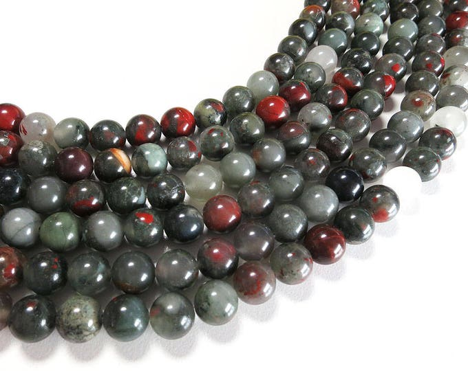 African Bloodstone Beads | Round Natural Gemstone Beads | Sold by 15 Inch Strand | Size 4mm 6mm 8mm 10mm 12mm
