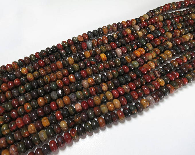 Picasso Jasper Rondelle Beads | Natural Gemstone Beads | Sold by 15 Inch Strand | Size 8x5mm